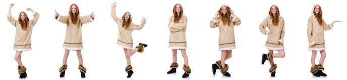 Το κορίτσι που απομονώνεται των Εσκιμώων στο λευκό Στοκ Φωτογραφίες