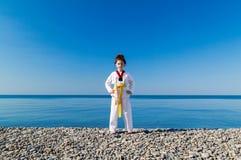 Το κορίτσι που εκπαιδεύει στην παραλία: Taekwondo, αθλητισμός Στοκ Εικόνες