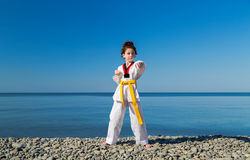 Το κορίτσι που εκπαιδεύει στην παραλία: Taekwondo, αθλητισμός Στοκ εικόνες με δικαίωμα ελεύθερης χρήσης