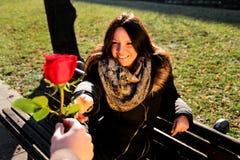 Το κορίτσι που εξετάζει στοργικά το χέρι και ένα κόκκινο αυξήθηκε Στοκ Εικόνες