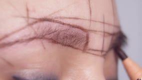 Το κορίτσι που κάνει το κύκλωμα για την εφαρμογή του μόνιμου makeup στο σαλόνι ομορφιάς απόθεμα βίντεο