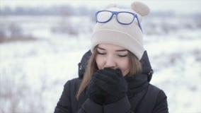 Το κορίτσι σε ένα μαύρο σακάκι σε ένα υπόβαθρο ενός χειμερινού τομέα φιλμ μικρού μήκους
