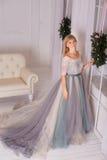 Το κορίτσι σε ένα φόρεμα με το μακρύ παράθυρο τραίνων Στοκ φωτογραφία με δικαίωμα ελεύθερης χρήσης