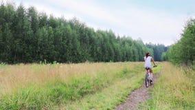 Το κορίτσι στα σορτς οδηγά το ποδήλατο κατά τη θερινή πράσινη δασική, πίσω άποψη απόθεμα βίντεο