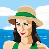 Το κορίτσι στο καπέλο διανυσματική απεικόνιση