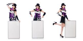 Το κορίτσι στο κοστούμι harlequin που απομονώνεται στο λευκό Στοκ φωτογραφία με δικαίωμα ελεύθερης χρήσης