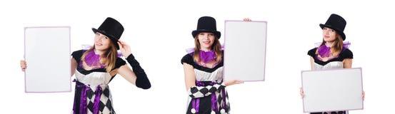 Το κορίτσι στο κοστούμι harlequin που απομονώνεται στο λευκό Στοκ Φωτογραφίες