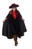 Το κορίτσι στο μαύρο και κόκκινο κοστούμι καρναβαλιού που απομονώνεται Στοκ φωτογραφία με δικαίωμα ελεύθερης χρήσης
