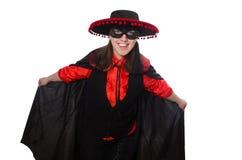 Το κορίτσι στο μαύρο και κόκκινο κοστούμι καρναβαλιού που απομονώνεται Στοκ εικόνα με δικαίωμα ελεύθερης χρήσης