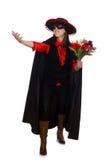 Το κορίτσι στο μαύρο και κόκκινο κοστούμι καρναβαλιού που απομονώνεται Στοκ φωτογραφίες με δικαίωμα ελεύθερης χρήσης