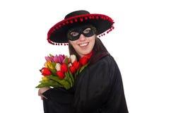 Το κορίτσι στο μαύρο και κόκκινο κοστούμι καρναβαλιού που απομονώνεται Στοκ εικόνες με δικαίωμα ελεύθερης χρήσης