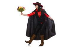 Το κορίτσι στο μαύρο και κόκκινο κοστούμι καρναβαλιού που απομονώνεται Στοκ Εικόνες