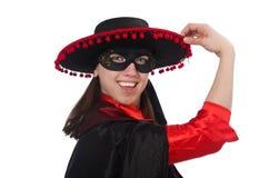 Το κορίτσι στο μαύρο και κόκκινο κοστούμι καρναβαλιού που απομονώνεται Στοκ Εικόνα