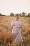 Το κορίτσι στο ρόδινο μακρύ φόρεμα και το στεφάνι είναι στον τομέα με τη σίκαλη στοκ εικόνα