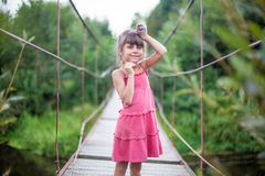 Το κορίτσι στο ρόδινο φόρεμα στη γέφυρα Στοκ Εικόνα