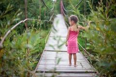 Το κορίτσι στο ρόδινο φόρεμα στη γέφυρα Στοκ Εικόνες