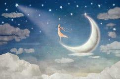 Το κορίτσι στο φεγγάρι θαυμάζει το νυχτερινό ουρανό απεικόνιση αποθεμάτων