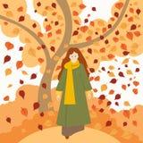 Το κορίτσι στο autumngirl το φθινόπωρο ντύνει τα ενδύματα διανυσματική απεικόνιση