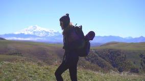 Το κορίτσι τουριστών με ένα σακίδιο πλάτης περπατά ενάντια στο σκηνικό των βουνών, αργό MO, πλάγια όψη απόθεμα βίντεο