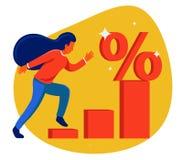 Το κορίτσι τρέχει το διάγραμμα στο σύμβολο έκπτωσης χαμηλή τιμή στο κατάστημα ελεύθερη απεικόνιση δικαιώματος