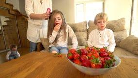 Το κορίτσι τρώει τη φράουλα ενώ τρίχα και αδελφός χτενών μητέρων κόκκινα ώριμα μούρα στο πιάτο απόθεμα βίντεο