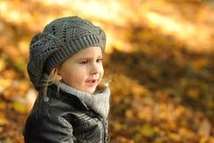το κορίτσι φθινοπώρου αφή& Στοκ Φωτογραφία