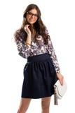 Το κορίτσι φορά το floral πουκάμισο Στοκ Εικόνες
