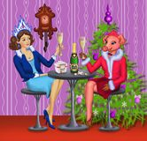 Το κορίτσι χιονιού και το χοίρος-κορίτσι συναντούν το νέο έτος κοντά στο χριστουγεννιάτικο δέντρο απεικόνιση αποθεμάτων