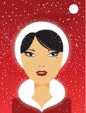 το κορίτσι Χριστουγέννων ομορφιάς αποτελεί Στοκ Φωτογραφία