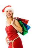 το κορίτσι Χριστουγέννων παρουσιάζει Στοκ φωτογραφία με δικαίωμα ελεύθερης χρήσης