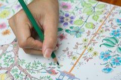 Το κορίτσι χρωματίζει στο χρωματισμό των βιβλίων Στοκ φωτογραφία με δικαίωμα ελεύθερης χρήσης