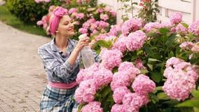 Το κορίτσι ψεκάζει τα λουλούδια hydrangea Πορτρέτο του ευτυχούς νέου ψεκάζοντας νερού κηπουρών γυναικών στις εγκαταστάσεις Έννοια φιλμ μικρού μήκους