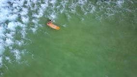Το κορίτσι surfer κρατά τις προσπάθειες πινάκων ενάντια στο foamy κύμα απόθεμα βίντεο