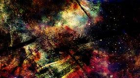 Το κοσμικό διάστημα και τα αστέρια, χρωματίζουν το κοσμικό αφηρημένο υπόβαθρο και τη μαύρη Fractal δομή Στοκ Εικόνες