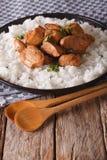 Το κοτόπουλο Adobo με διακοσμεί της κινηματογράφησης σε πρώτο πλάνο ρυζιού σε ένα πιάτο κάθετος Στοκ φωτογραφία με δικαίωμα ελεύθερης χρήσης