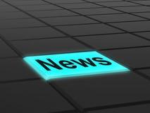 Το κουμπί ειδήσεων παρουσιάζει ραδιοφωνική μετάδοση ενημερωτικών δελτίων on-line Στοκ Εικόνες