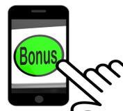 Το κουμπί επιδομάτων επιδεικνύει το πρόσθετο δώρο ή Gratuity on-line Στοκ εικόνες με δικαίωμα ελεύθερης χρήσης