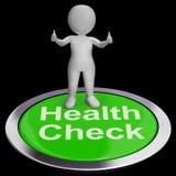 Το κουμπί ελέγχου υγείας παρουσιάζει εξετάσεις ιατρικής κατάστασης απεικόνιση αποθεμάτων