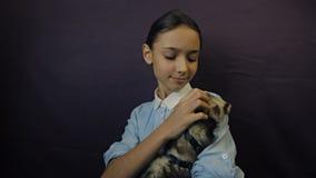 Το κουνάβι τρώει από το χέρι του παιδιού απόθεμα βίντεο