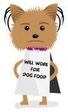 Το κουτάβι σκυλιών Yorkie θα εργαστεί για το σημάδι τροφίμων Στοκ Φωτογραφία