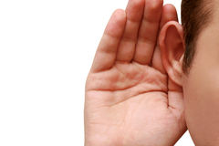 το κουτσομπολιό ακούε&io στοκ εικόνες