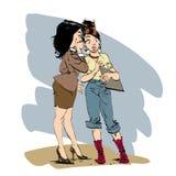 Το κουτσομπολιό δύο φίλοι κοριτσιών επικοινωνεί Στοκ Εικόνες