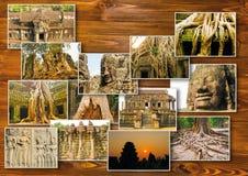 Το κολάζ από τις εικόνες Angkor Wat στην Καμπότζη Στοκ Εικόνες