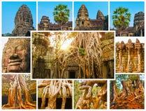 Το κολάζ από τις εικόνες Angkor Wat στην Καμπότζη Στοκ φωτογραφία με δικαίωμα ελεύθερης χρήσης