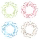 Κολάζ του διακοσμητικού σχεδίου σε τέσσερα διαφορετικά χρώματα Στοκ εικόνες με δικαίωμα ελεύθερης χρήσης