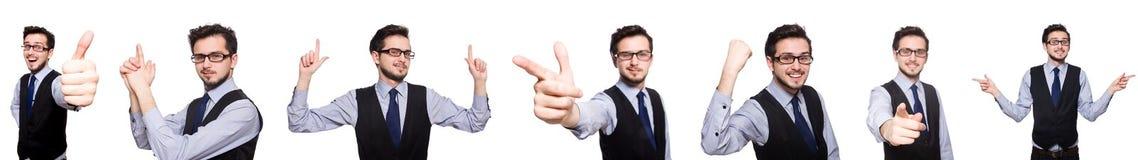 Το κολάζ του αστείου επιχειρηματία στο λευκό Στοκ εικόνα με δικαίωμα ελεύθερης χρήσης
