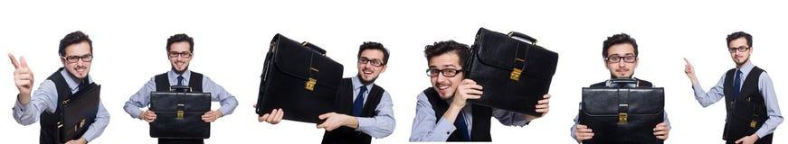 Το κολάζ του αστείου επιχειρηματία στο λευκό Στοκ Εικόνες
