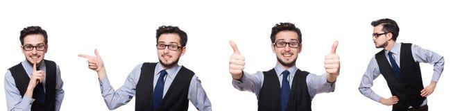 Το κολάζ του αστείου επιχειρηματία στο λευκό Στοκ Φωτογραφίες