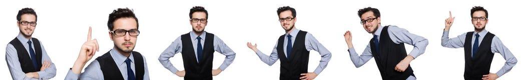 Το κολάζ του αστείου επιχειρηματία στο λευκό στοκ φωτογραφία με δικαίωμα ελεύθερης χρήσης