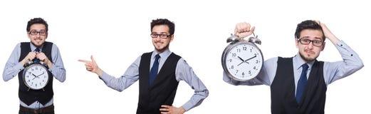Το κολάζ του επιχειρηματία με το ρολόι στο λευκό Στοκ Εικόνα